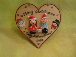 3 CHARACTER Christmas Theme 3d FAMILY Heart 12 x 12 cm Decoration UNIQUE GIFT